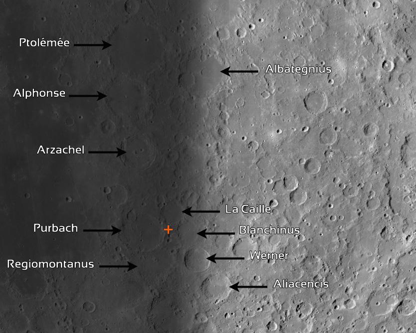 Disposition des cratères autour du X lunaire