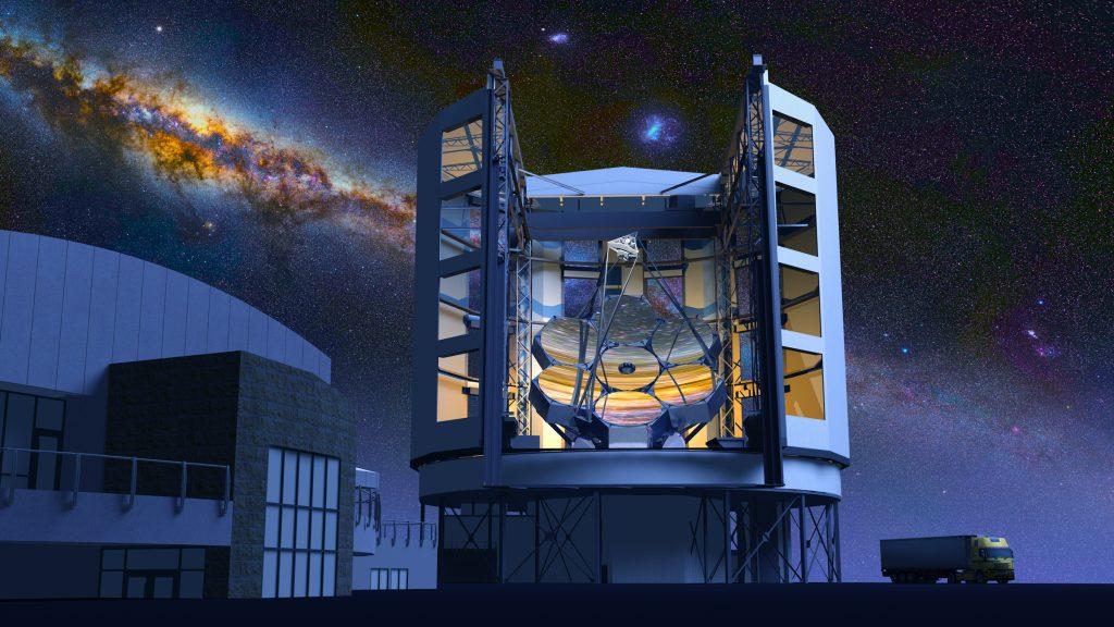 Vue d'artiste du Giant Magellan Telescope dans le désert d'Atacama au Chili, de nuit.