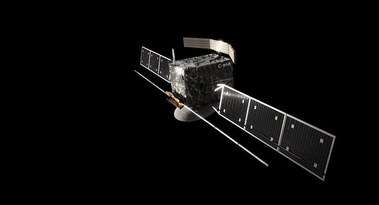 Vue d'artiste de la sonde européenne EnVision, sur fond noir uni. On voit un cube au centre avec la charge utile et les deux bras munis de panneaux solaires de part et d'autre du satellite.