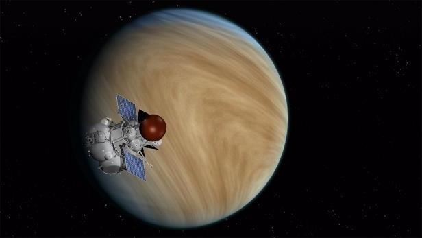 Orbiter de la future mission russe Venera-D, vue d'artiste devant la planète Vénus.