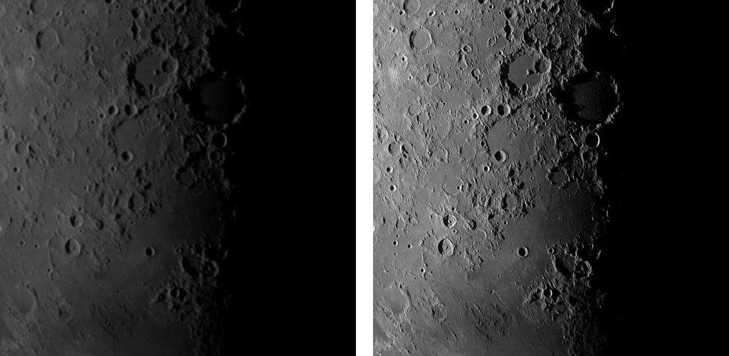 Simulations d'observation de la Lune à fort grossissement avec une petite lunette et un gros télescope d'amateur.