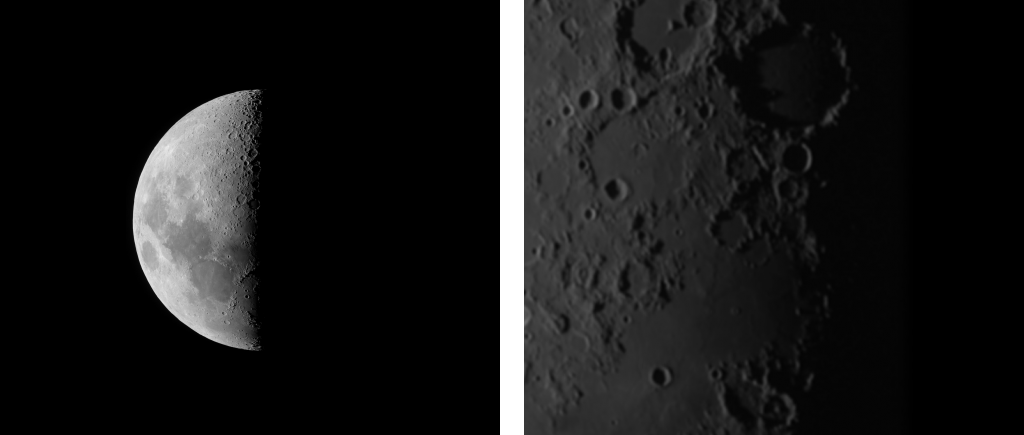 Comparison of images obtained with low and high magnification with a small telescope.
