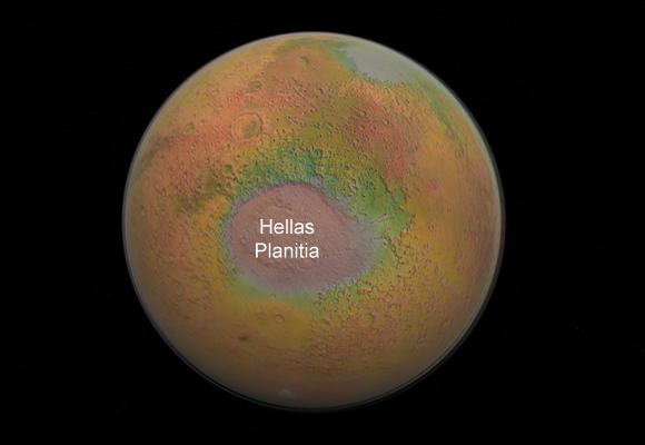 Hellas Planitia, le plus grand cratère d'impact de Mars, représenté sur la planète vue dans son ensemble.