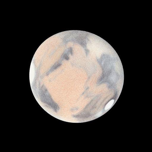 Illustration of Mars using a 400 mm telescope