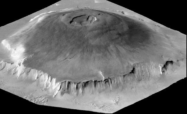 Image en noir et blanc qui représente l'Olympus Mons en 3D.