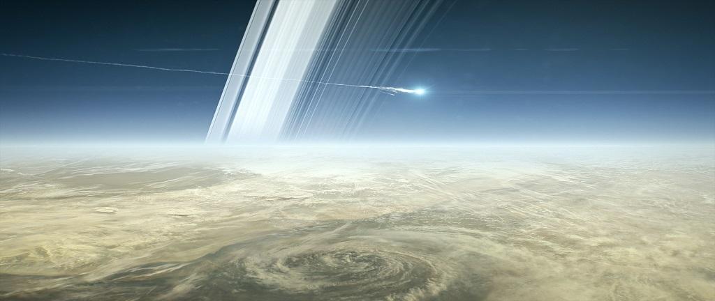 Vue d'artiste de la sonde Cassini s'écrasant à la surface de Saturne