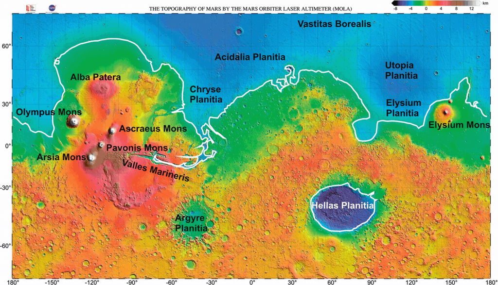 Dichotomie de Mars: planisphère avec l'hémisphère nord en bleu riche en plaines lisses et l'hémisphère sud en orange, truffé de cratères d'impacts anciens. On y voit aussi volcans et canyons.