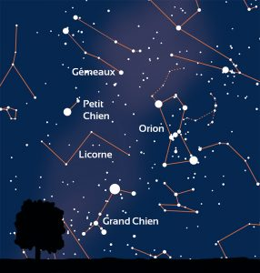 carte du ciel montrant l'emplacement de la constellation d'Orion