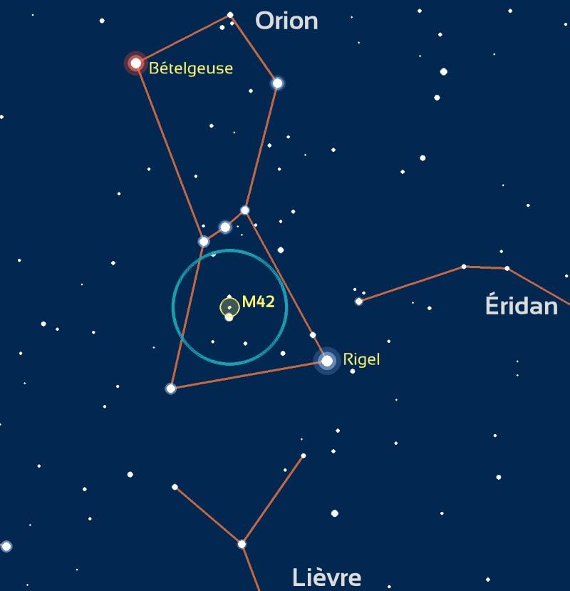 carte du ciel montrant le champ de vision que l'on peut obtenir en regardant Orion avec des jumelles