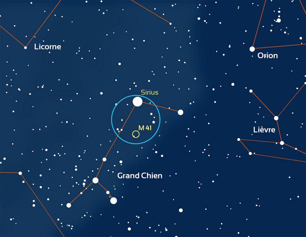 carte de l'emplacement de la constellation du Grand Chien
