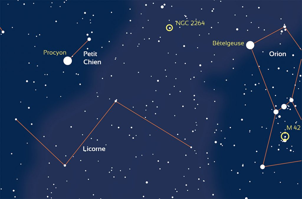 carte de la constellation de la licorne et du petit chien