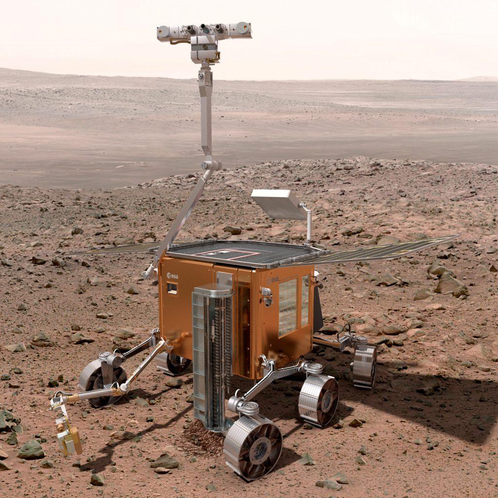 Vue d'artiste du rover européen Exomars sur Mars.