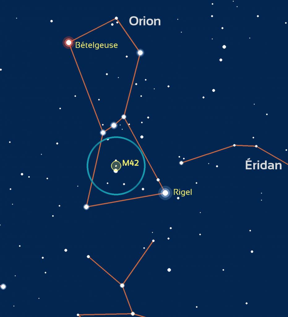 Carte de repérage de M42: le cercle bleu représente le champ de vision de jumelles standard (6 degrés) ou d'un easyScope.