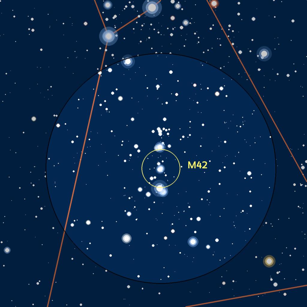 Carte du champ de M42 observé avec des jumelles ou un easyScope.