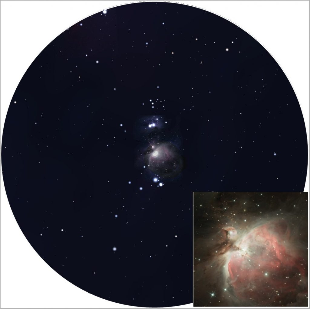 Simulation de la vision de M42 obtenue avec des jumelles (d'après une image Stellarium). En encadré, un cliché pris au télescope par un amateur (image : G. Bauza).