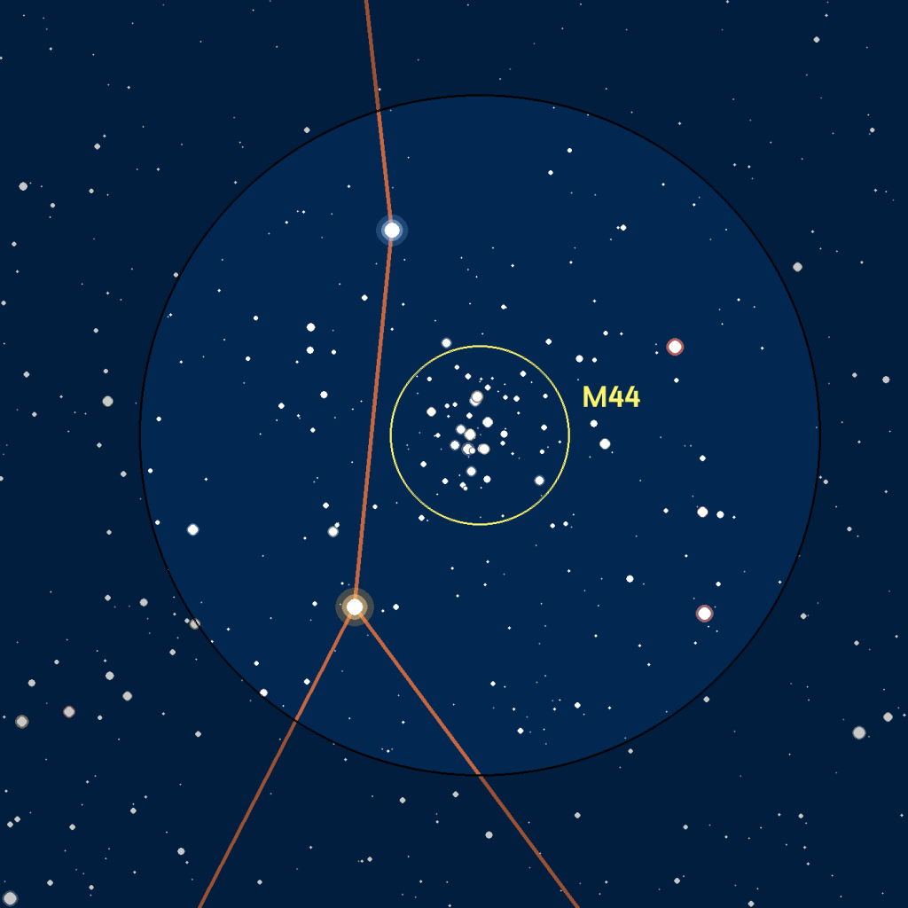 Carte du champ de M8 observé avec des jumelles ou un easyScope.