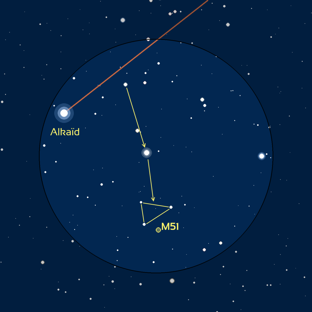 Carte du champ de M51 observé avec des jumelles ou un easyScope.