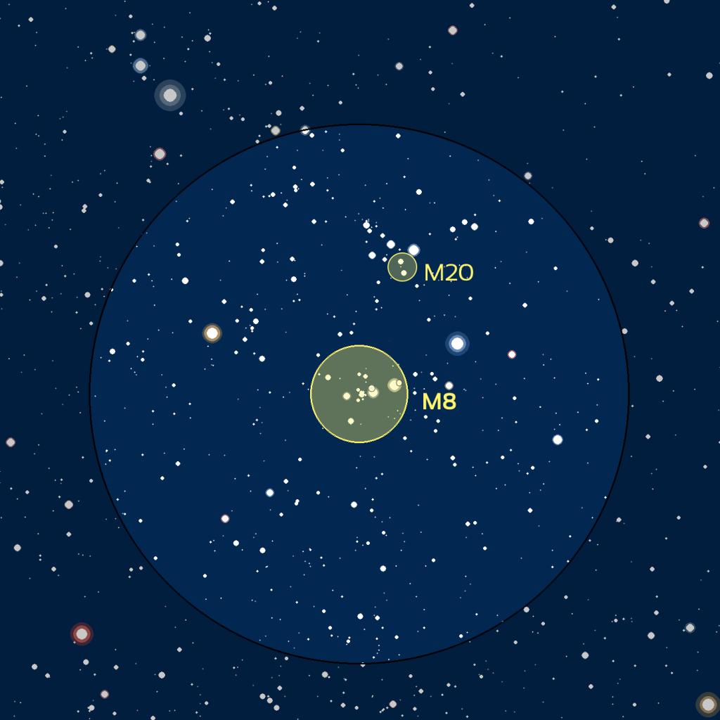 Carte du ciel de M8 et M20