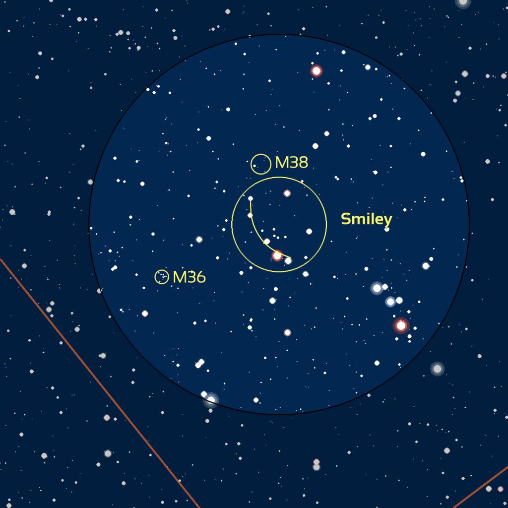 Carte du champ du Smiley avec également les amas M36 et M38, observé avec des jumelles ou un easyScope.