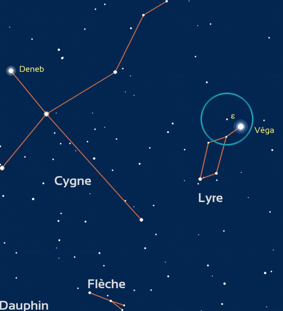 Carte de repérage d'epsilon de la Lyre: le cercle bleu représente le champ de vision de jumelles standard (6 degrés) ou d'un  easyScope.
