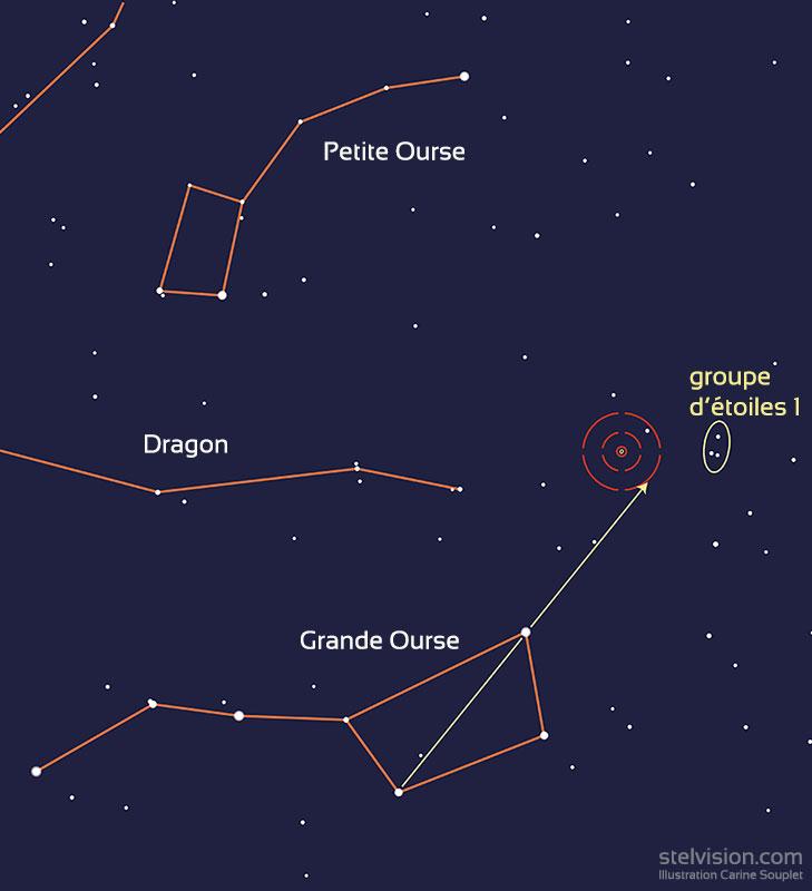 Carte de repérage de M81 et M82 dans la Grande Ourse.