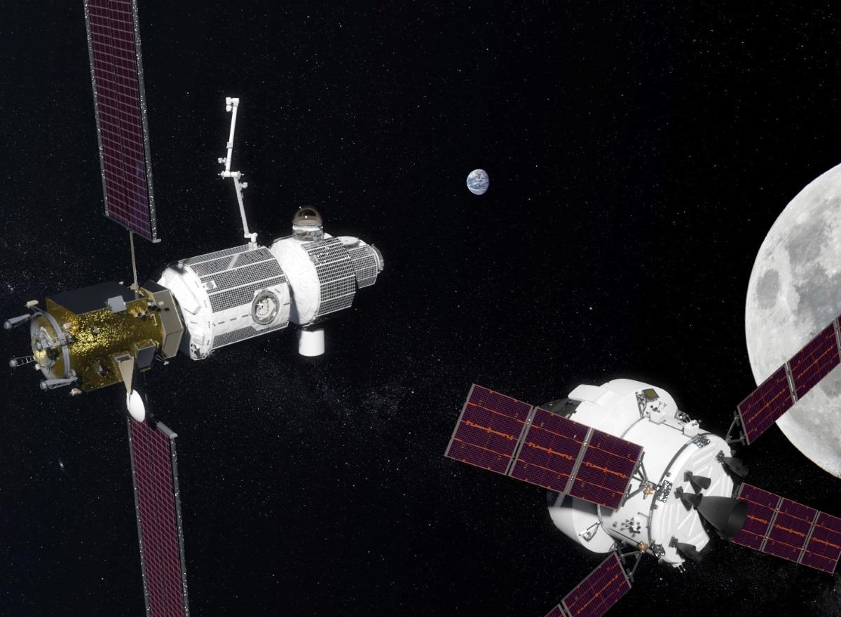 Vue d'artiste d'une station spatial en orbite de la lune