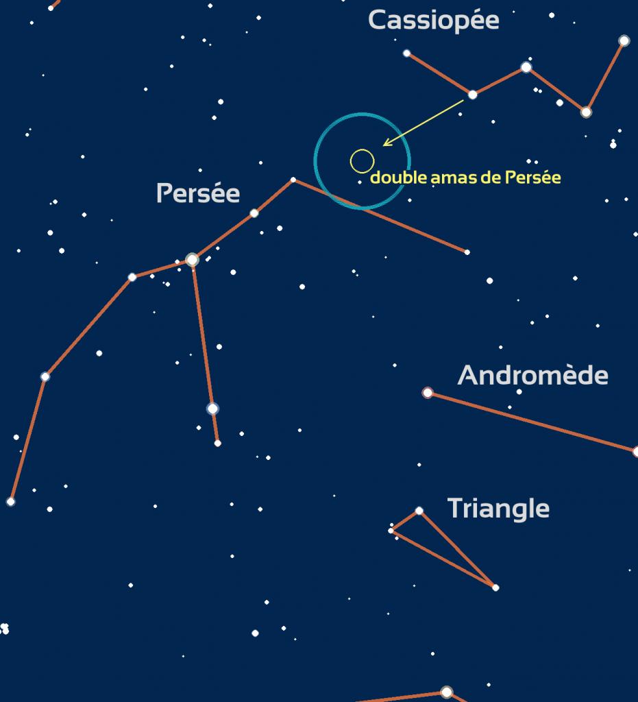 carte du ciel du double amas de Persée