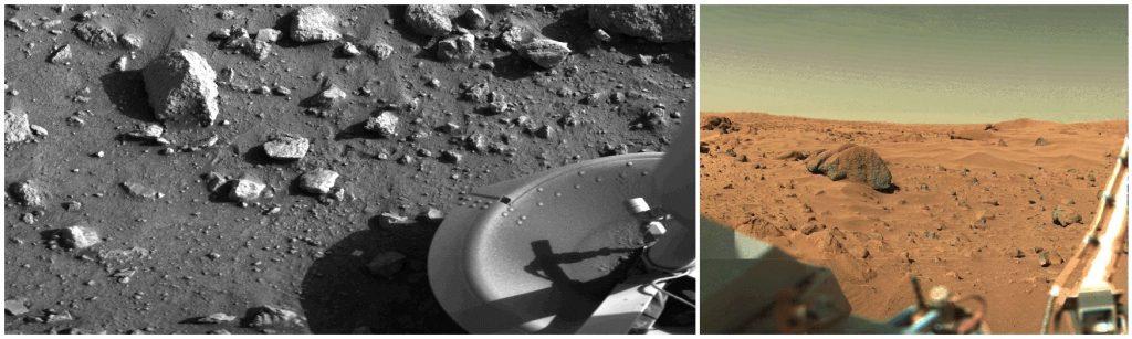 Deux photos, une en noir et blanc et une en couleur. Premières images du sol martien recueillies in situ par Viking 1