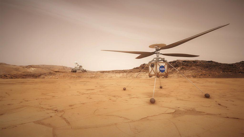 Vue d'artiste d'un hélicoptère de la Nasa posé sur le sol rouge de Mars dans le cadre de la mission Mars 2020.
