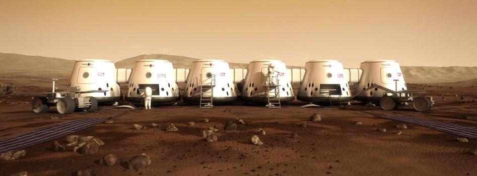 Vue d'artiste de l'installation d'une colonie humaine sur Mars