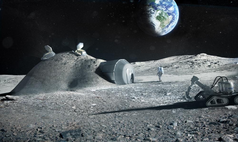 Vue d'artiste montrant une colonie lunaire