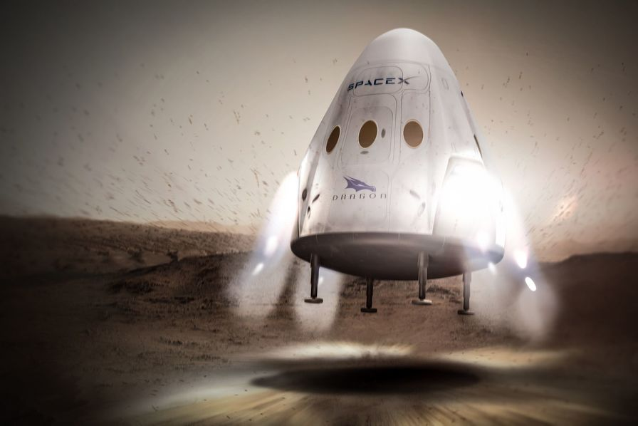 Vue d'artiste de la La capsule Red Dragon de SpaceX qui pourrait transporter sept astronautes.