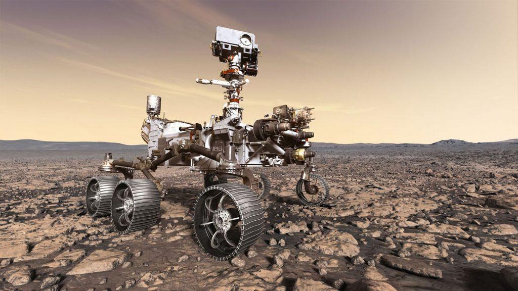 Vue d'artiste du rover Mars 2020 en situation sur le sol martien