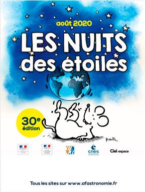Affiche des Nuits des étoiles 2020. 30 ème édition, les 7,8,9 août.
