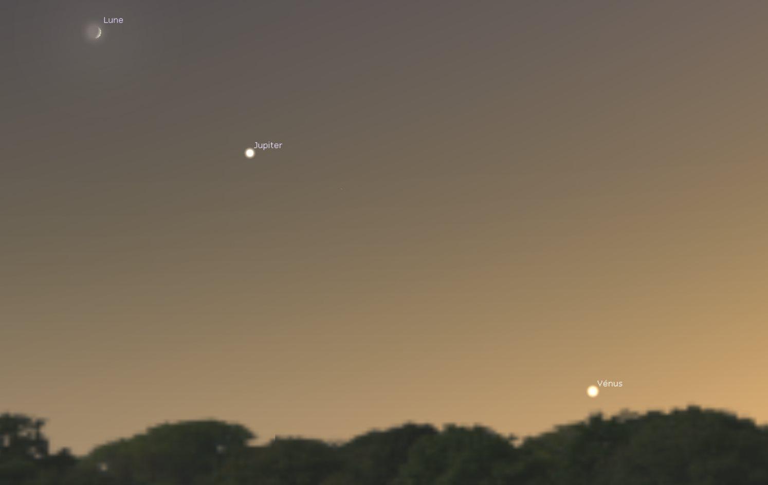 simulation Stellarium de l'alignement Lune-Jupiter-Vénus du 14 septembre 2018.