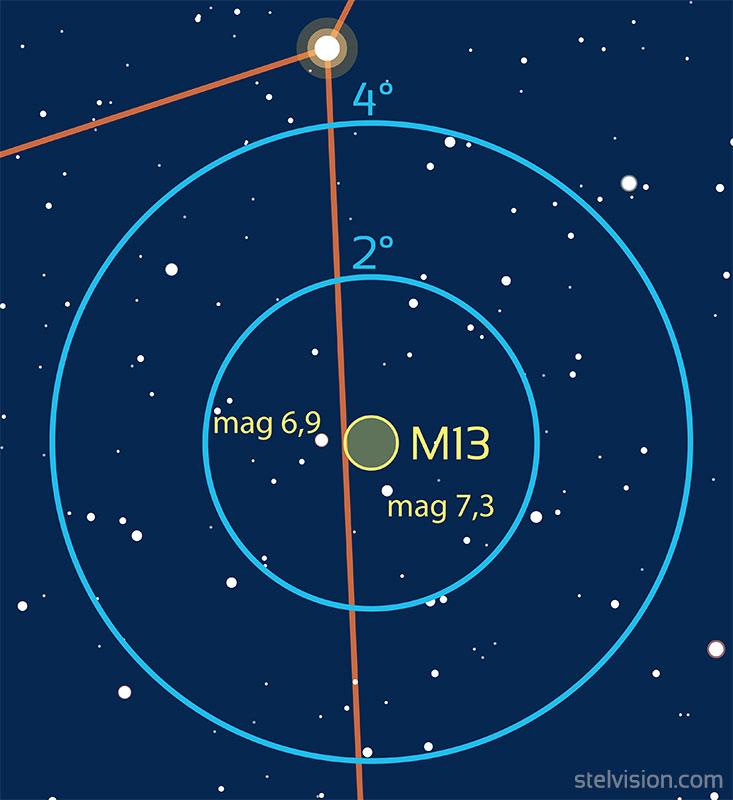 Carte de repérage de l'amas globulaire M13 aux instruments.
