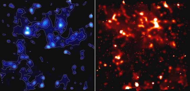Deux images en couleur bleu à droite (matière noire) et en couleur rouge à gauche (matière ordinaire) sur une même région de l'Univers.
