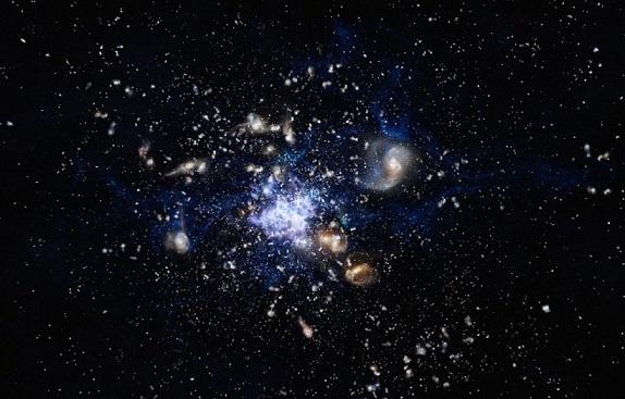Vue d'artiste de la formation d'un amas de galaxies.