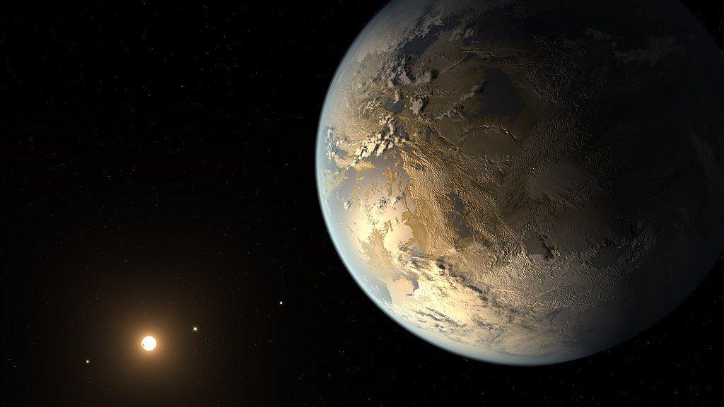 L'exoplanète Kepler-186 f en couleurs jaune doré située dans la zone d'habitabilité de son étoile.