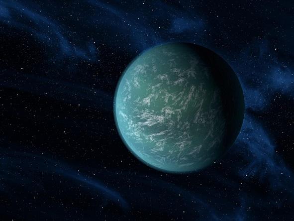 Kepler-22 b est une planète extrasolaire (en couleur vert bleuté) dans sa zone d'habitabilité, très prompte à posséder de l'eau liquide à sa surface.