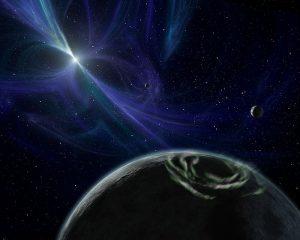 Vue d'artiste en couleurs bleues des quatre premières exoplanètes à avoir été découvertes, en orbite autour du pulsar Liche.
