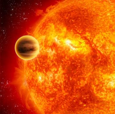 Vue d'artiste de l'exoplanète 51 Pergasi b en couleur jaune orangé, à côté de son étoile 51 Pegasi.