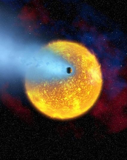 Vue d'artiste de l'exoplanète Osiris qui a son atmosphère (bleu) soufflée par son étoile (en jaune).