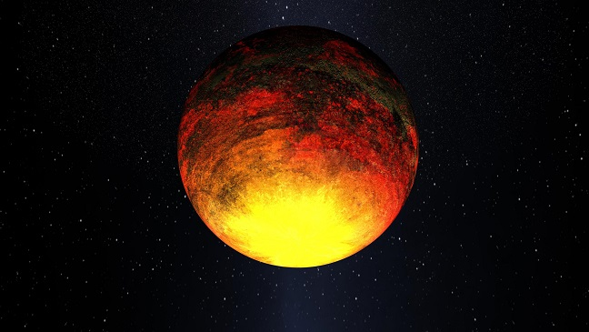 Kepler-10 b, la première exoplanète découverte par la traqueur Kepler, pourrait être recouverte d'un océan de lave en dégradé du jaune vers l'orange et le noir.