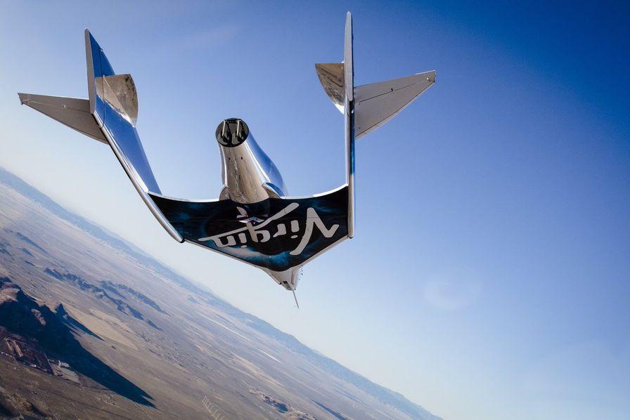 Le vaisseau spatial SpaceShipTwo VSS Unity de Virgin Galactic.