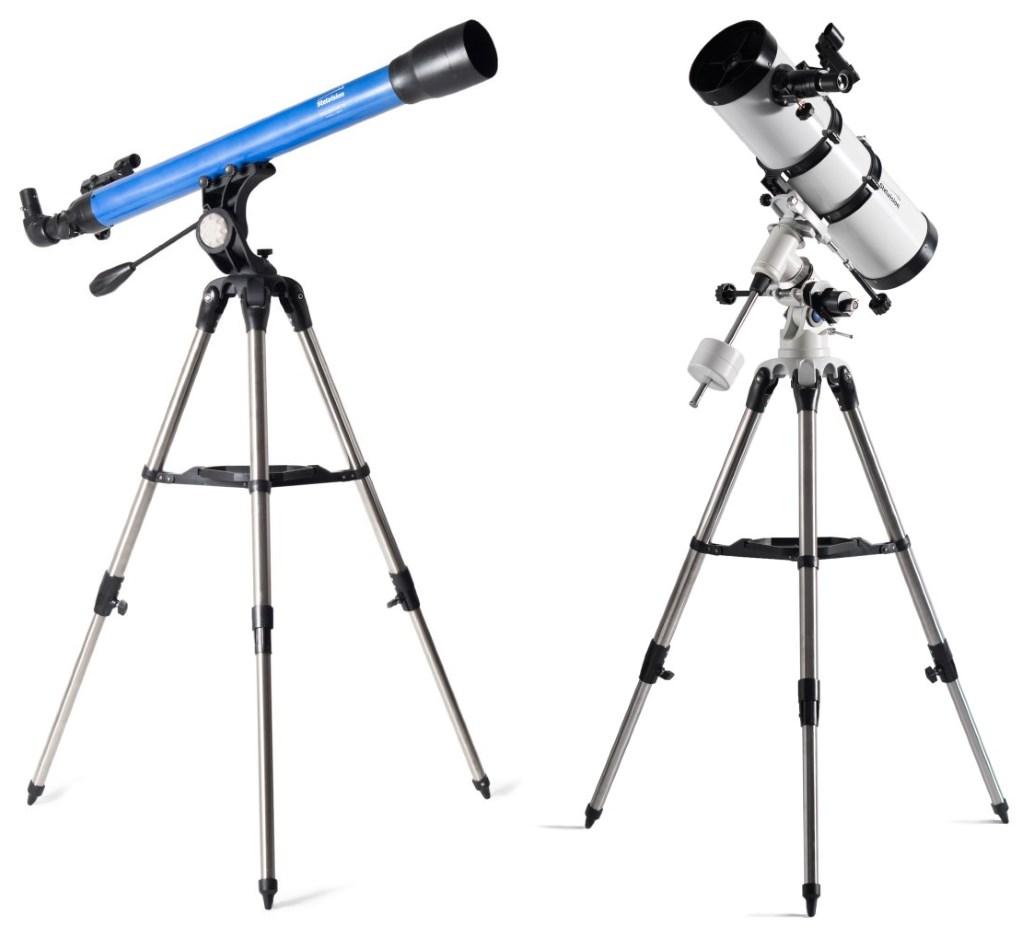 photo lunette de 70 mm et télescope de 130 mm