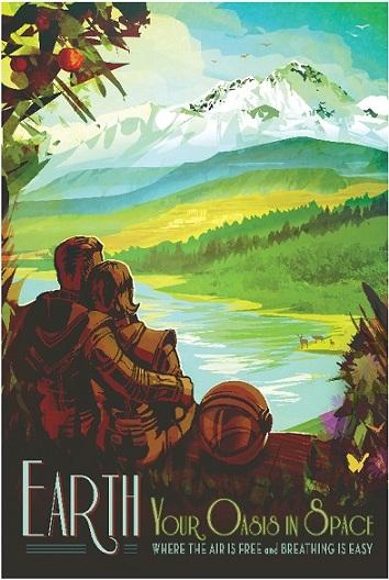 Affiche vision de l'exploration planétaire qui représente un couple de dos, en combinaison spatial, admirant un paysage semblable à des collines sur Terre.
