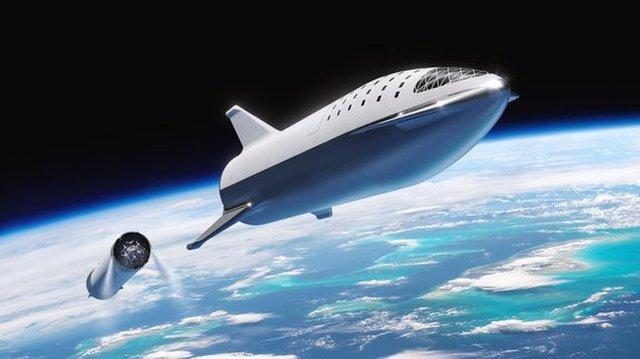 Vue d'artiste du Big Falcon Rocket de SpaceX, en route vers la Lune en 2023.