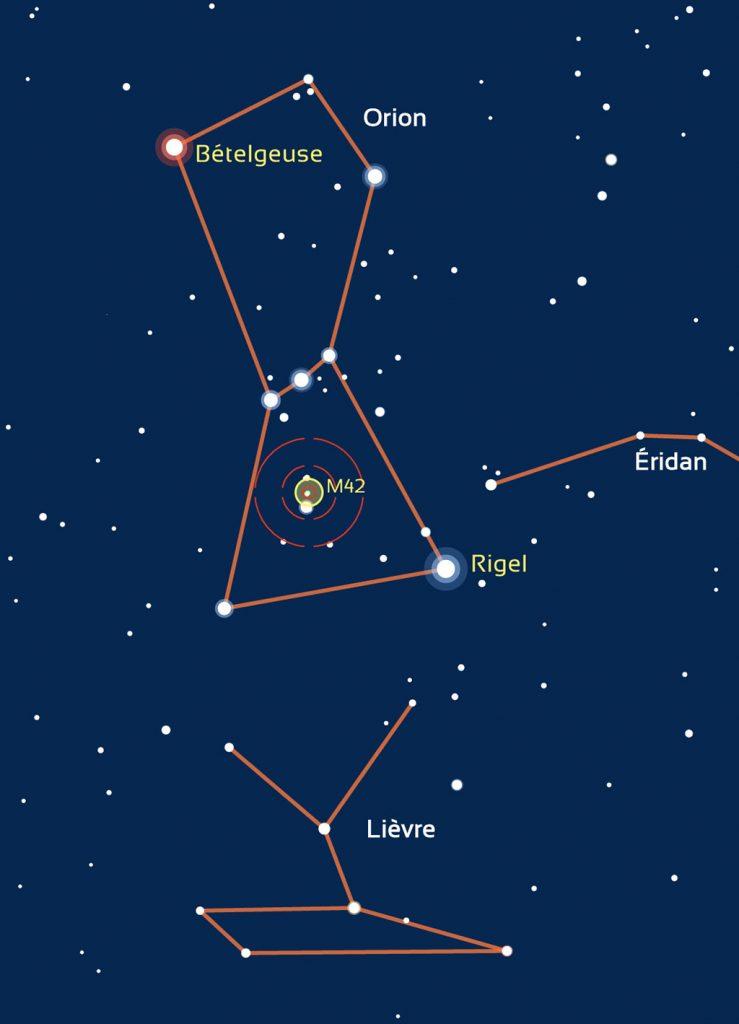 Repérage de la zone où se situe M42 dans Orion.