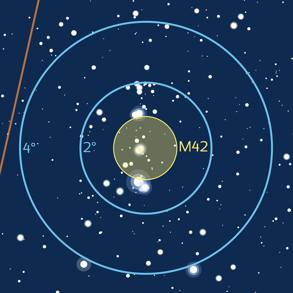 Repérage aux instruments de M42 dans Orion.